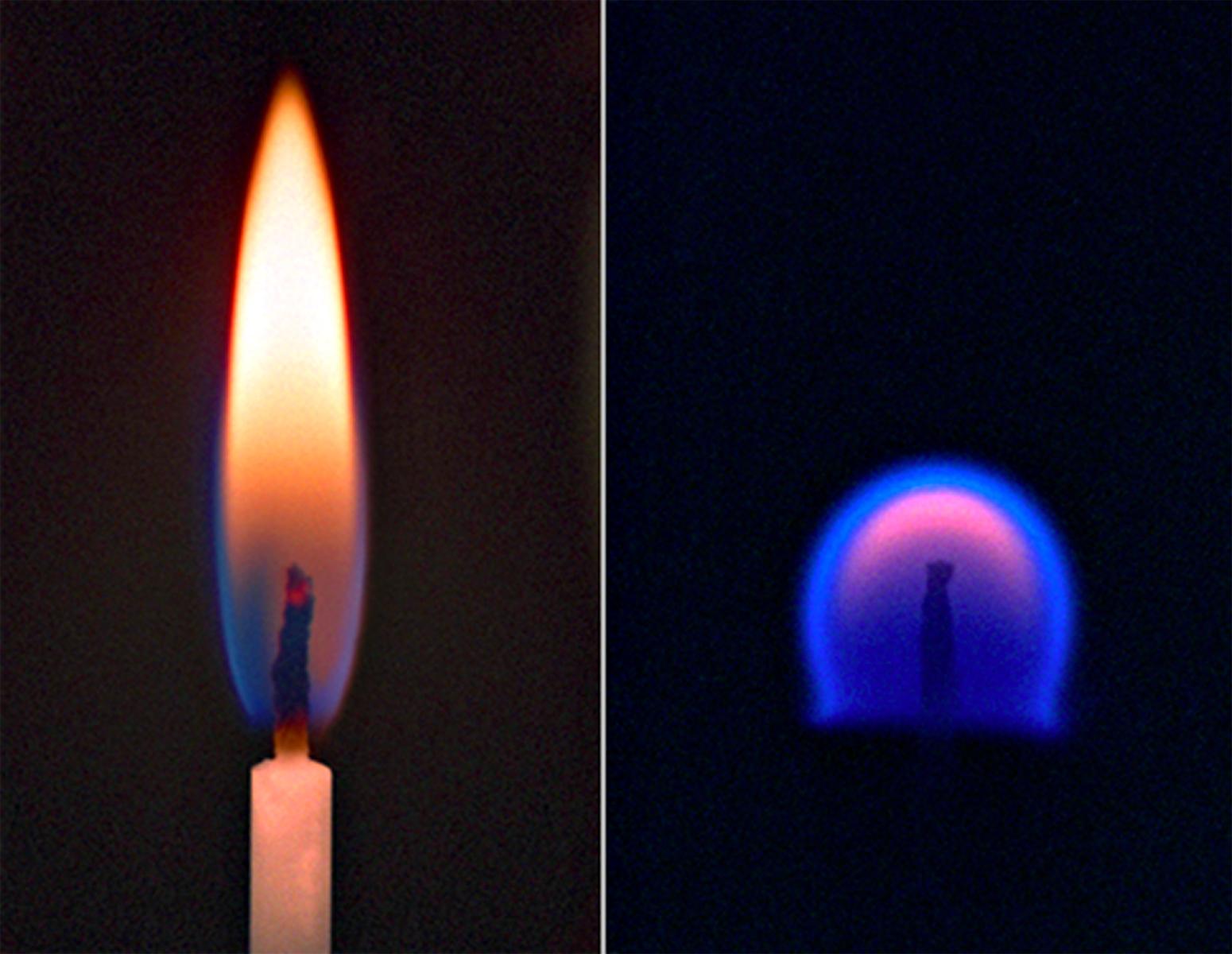 Świeczka płonąca na Ziemi a świeczka płonąca w warunkach obniżonej grawitacji jaka panuje na stacji kosmicznej.